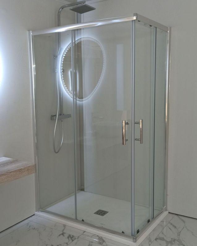 Box doccia rettangolare cristallo temperato 6 mm, cm.80x100