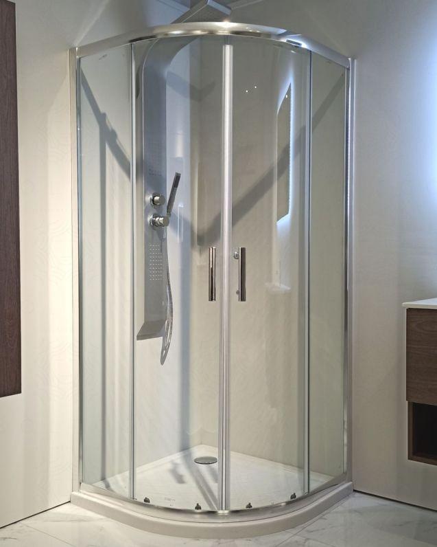 Box doccia semicircolare cristallo temperato 6 mm, cm.90x90