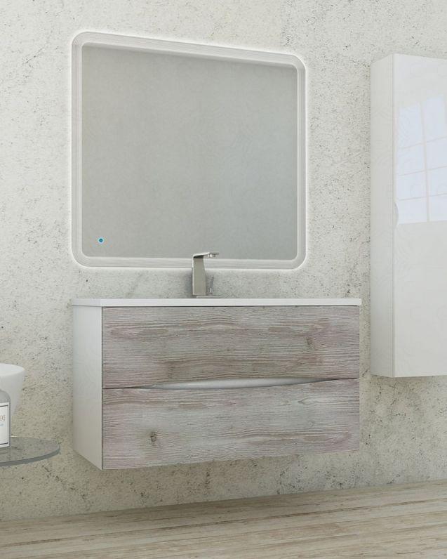 Mobile bagno Arianna bianco con frontali larice grigio, cm.100