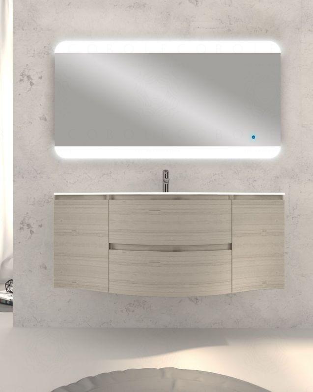 Mobile bagno sospeso Greta, curvo, cm.138 con specchio led