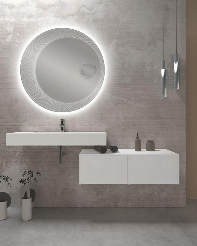 Mensolone bagno su misura con vasca centrale, da cm.80 fino a